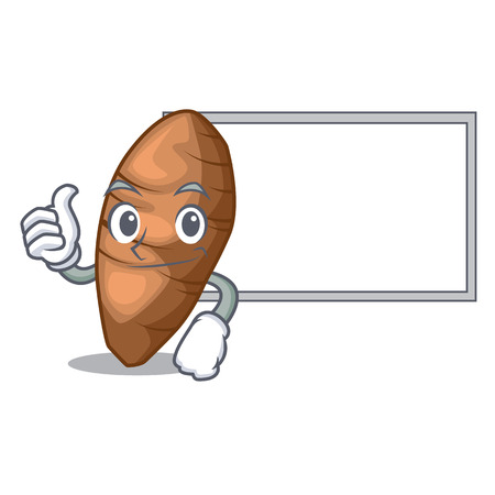 Thumbs up with board taro tuber in the shape cartoon vector illustration Illustration
