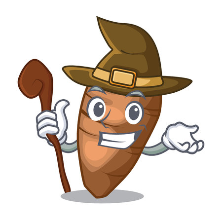 Witch taro tuber isolated in the mascot vector illustration