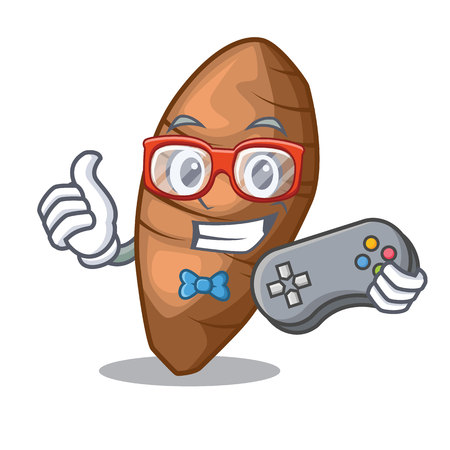 Gamer taro tuber isolated in the mascot vector illustration