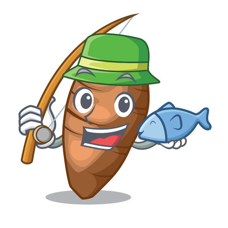 Fishing taro tuber isolated in the mascot vector illustration