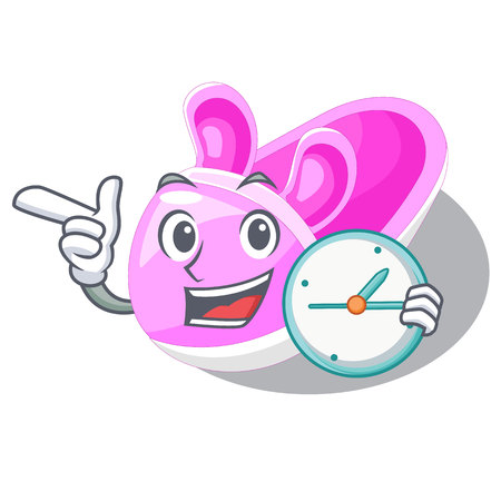 With clock shoes baby above the character rak vector llustration