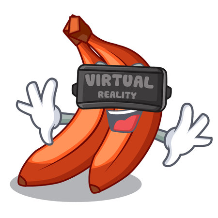 Virtual reality red cartoon bananas ready to eat vector illustration