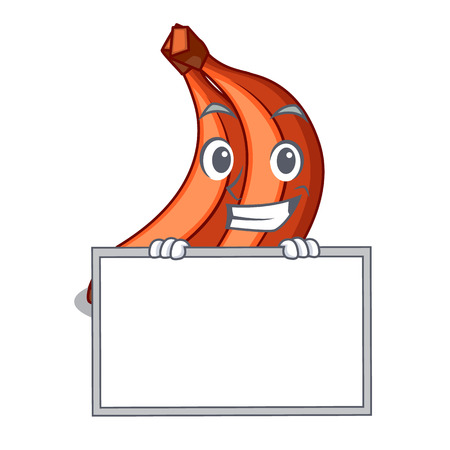 Grinning with board red banana isolated on the mascot vector illustartion