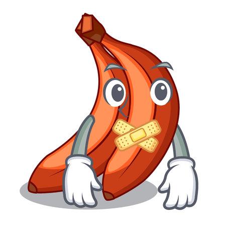 Silent red banana in the shape cartoon Illustration