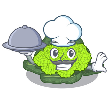 Chef with food roman caulifloer above table cartoon woodenvector illustration