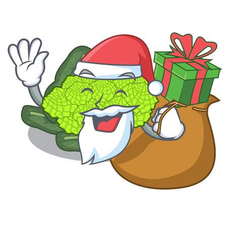 Santa with gift roman cauliflower isolated on the mascot