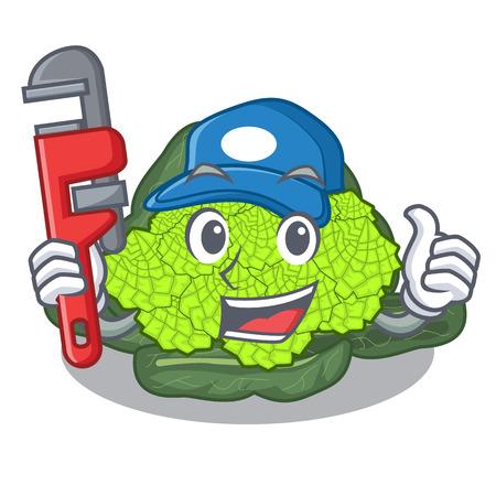 Plumber roman cauliflower isolated on the mascot vector illustration