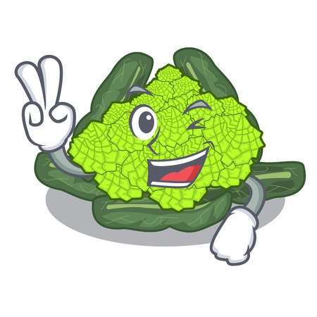 Two finger detail texture of roman cauliflower character vector illustration