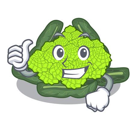 Thumbs up detail texture of roman cauliflower character vector illustration