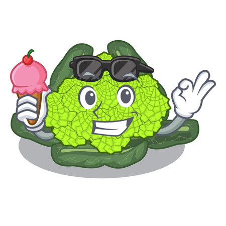With ice cream detail texture of roman cauliflower character vector illustration