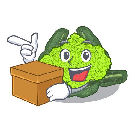 With box detail texture of roman cauliflower character vector illustration Ilustração