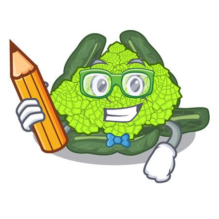 Student detail texture of roman cauliflower character vector illustration