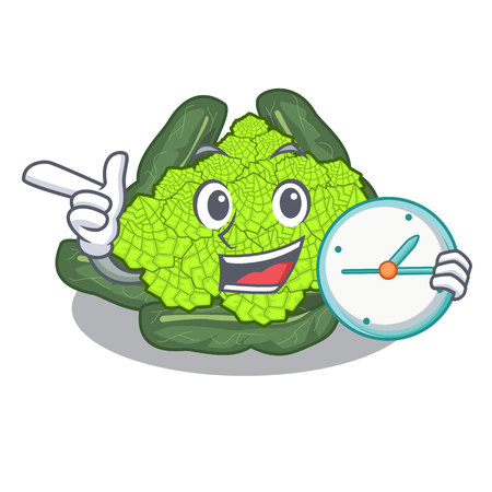 With clock detail texture of roman cauliflower character vector illustration