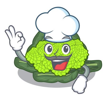 Chef detail texture of roman cauliflower character vector illustration