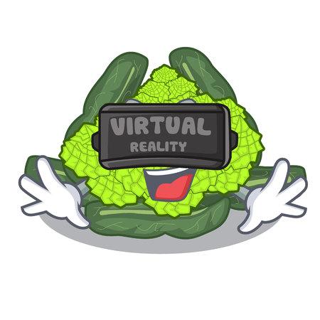 Virtual reality roman caulifloer above table cartoon woodenvector illustration
