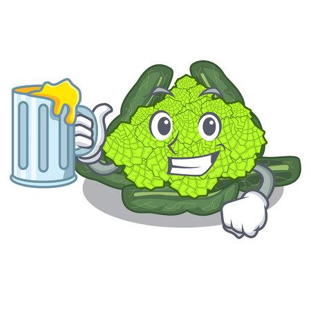 With juice roman caulifloer above table cartoon woodenvector illustration Ilustração
