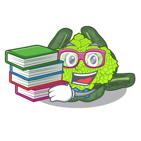 Student with book roman cauliflower isolated on the mascot vector illustration