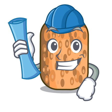Architect fried tempeh in bowl character wooden vector illustration