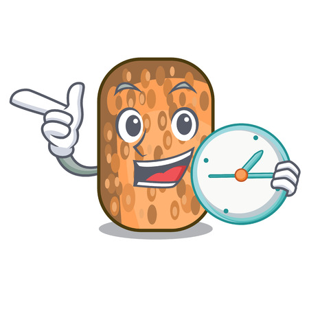 With clock fried tempeh in bowl character wooden vector illustration