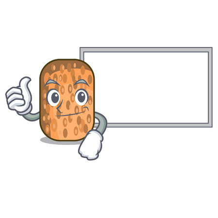 Thumbs up with board tempeh fried in the shape cartoon vector illustrartion