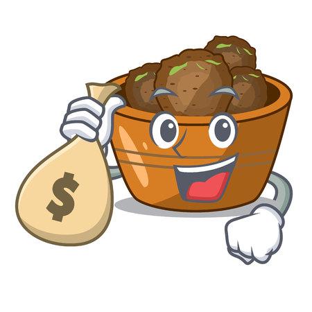 With money bag jamun gulab in a cartoon bowl vector illustration