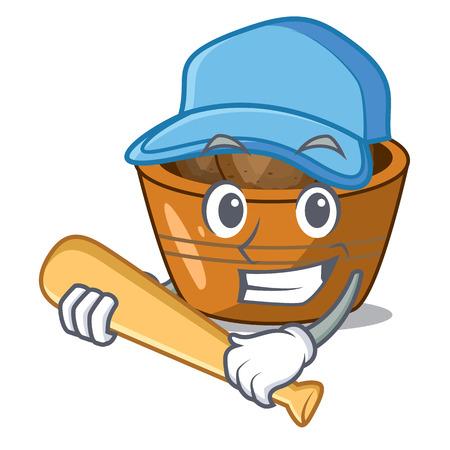 Playing baseball jamun gulab in a cartoon bowl vector illustration