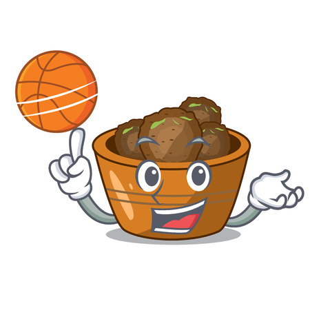 With basketball jamun gulab in a cartoon bowl vector illustration