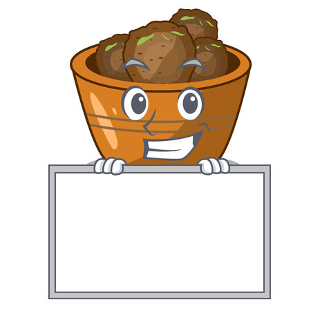 Grinning with board jamun gulab in a cartoon bowl vector illustration