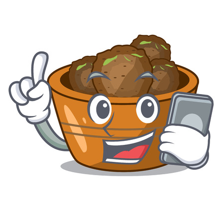 With phone jamun gulab in a cartoon bowl vector illustration