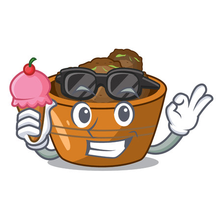 With ice cream gulab jamun on the character table vector illustartion Illustration