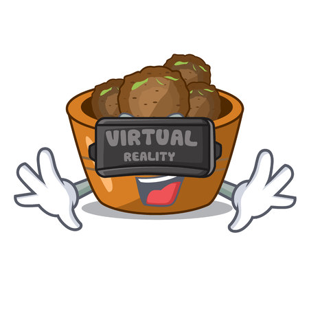 Virtual reality gulab jamun a very delicious cartoon vector illustartion