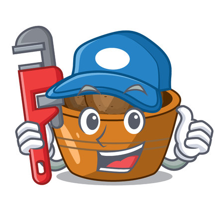 Plumber gulab jamun sprinkled with sugar mascot vector illustartion Illustration