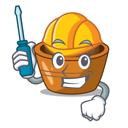 Automotive gulab jamun sprinkled with sugar mascot vector illustartion