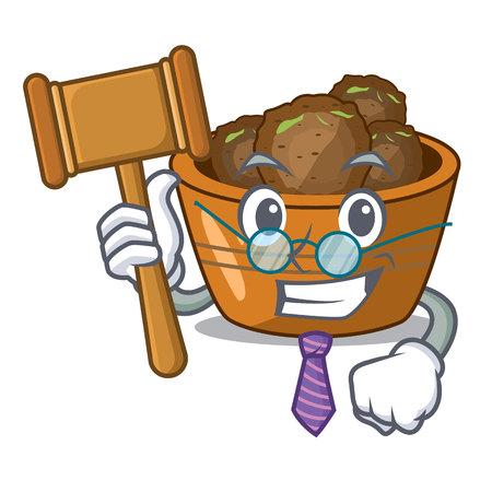 Judge gulab jamun sprinkled with sugar mascot vector illustartion