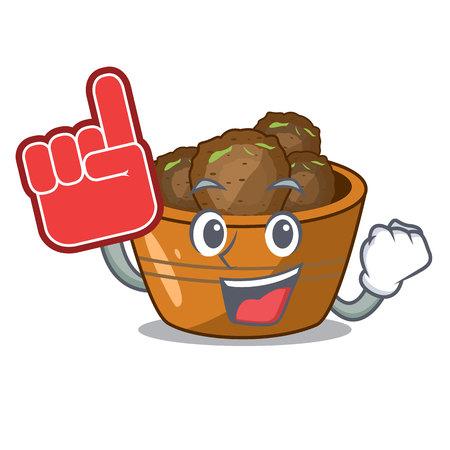Foam finger gulab jamun sprinkled with sugar mascot vector illustartion