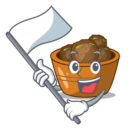 With flag gulab jamun sprinkled with sugar mascot vector illustartion