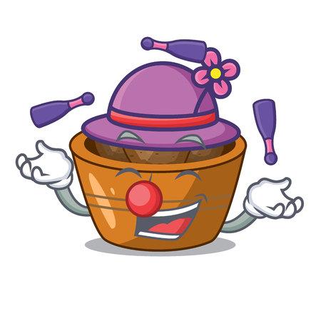 Juggling gulab jamun sprinkled with sugar mascot vector illustartion