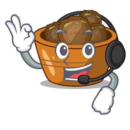With headphone gulab jamun sprinkled with sugar mascot vector illustartion