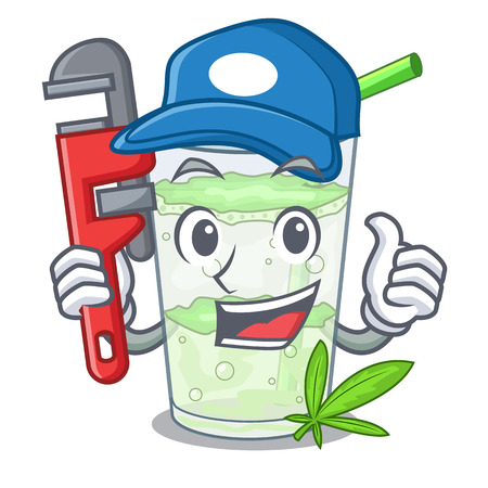Plumber juice lassi bhang isolated on mascot