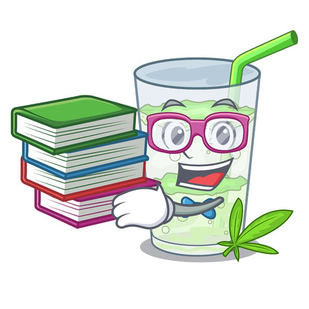 Student with book juice lassi bhang isolated on mascot