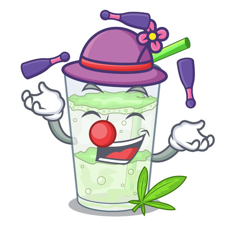Juggling juice lassi bhang isolated on mascot