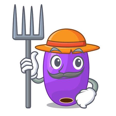 Farmer fruit jambolan in the character bowl vector illustartion
