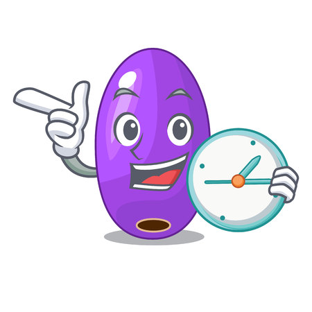 With clock fruit jambolan in the shape cartoon vector illustration
