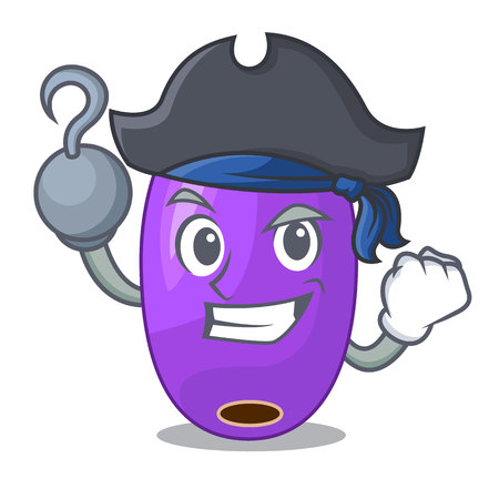 Pirate fruit jambolan in the character bowl vector illustartion