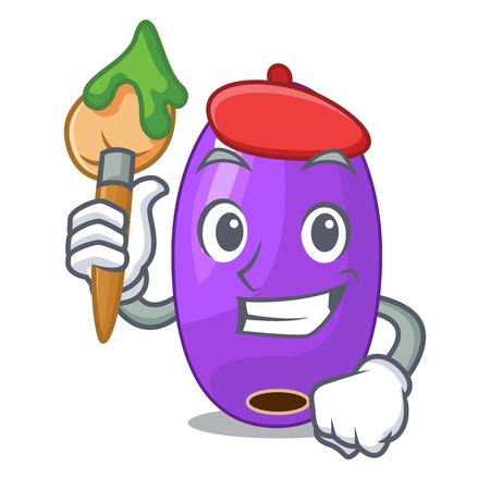 Artist fruit jambolan in the character bowl vector illustartion