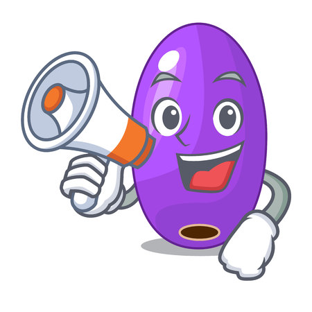 With megaphone fruit jambolan in the character bowl vector illustartion