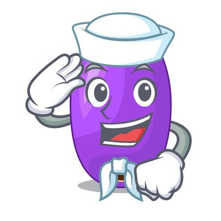 Jambolan de fruits de marin dans l'illustration vectorielle de bol de caractère