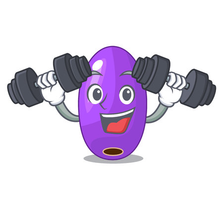 Fitness fruit jambolan in the character bowl vector illustartion Stok Fotoğraf - 126548360