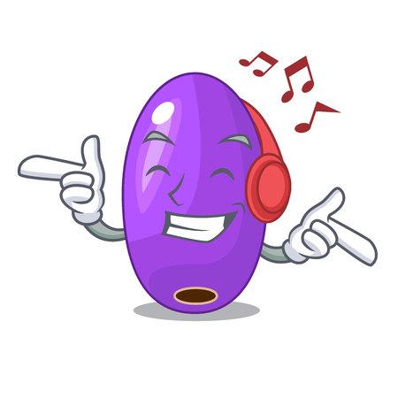 Listening music fruit jambolan in a cartoon basket Ilustrace