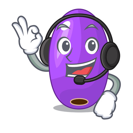 With headphone fruit jambolan isolated in the mascot vector illustration Illustration